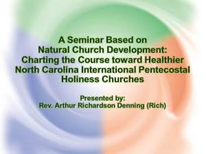 (Denning) A Seminar Based on NCD - Charting the Course toward Healthier NCIPHC Churches